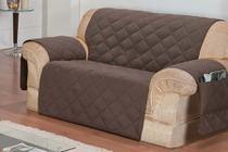 Protetor de sofá 2 lugares face unico confort Marrom - R&A Decora Casa