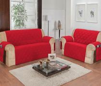 Protetor de sofá 2 lugares face unico confort vermelho - R&A Decora Casa