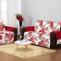 Protetor de Sofá Estampado 3 e 2 Lugares 100% Poliéster 2 Peças Floral Vermelho - Enxovais Aquarela