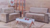 Protetor De Sofa Home Tecido Suede 3 e 2 Lugares Caqui - Casahome
