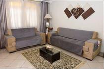 Protetor De Sofa Home Tecido Suede 3 e 2 Lugares Cinza - Casahome
