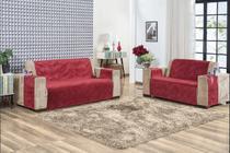 Protetor De Sofa Home Tecido Suede 3 e 2 Lugares Vermelho - Casahome