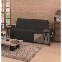 Protetor de sofá premium 3 lugares king - cor: caqui/preto - Do Lar Decoração