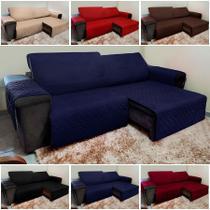 Protetor De Sofá Retrátil E Reclinável para Assento de 1,80m - Azul - Isabel Cristina Art E Decor