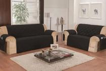 protetor de sofa slim ajustavel premium matelado 3e2 lugares preto - Lotus