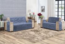 Protetor de Sofa Suede 3 e 2 Lugares Azul - Enxovais Yenor