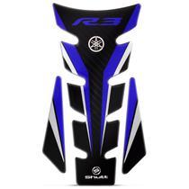 Protetor de Tanque Moto Yamaha YZF R3 Adesivo Resinado Tank Pad Fibra de Carbono Preto e Azul Shutt -