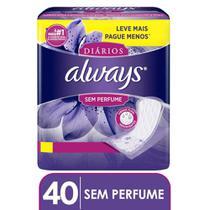 Protetor Diário Always Sem Perfume Leve Mais Pague Menos - 40 unidades -