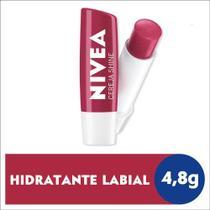 Protetor Labial Nivea Hidratação Com Cor Cereja Shine 4,8g 24H Pigmentos Brilhantes Todas as Peles -