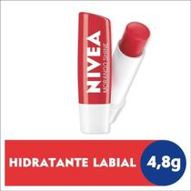 Protetor Labial Nivea Hidratação Profunda Morango Shine 4,8g 24H Pigmentos Brilhantes Todas as Peles -