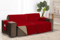 Protetor Retrátil e Reclinável Para Sofá 2,20m - Vermelho/Cáqui - Baby Store