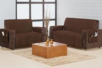 Protetor Sofa Home 3 e 2 Lugares Liso - Aquarela Enxovais