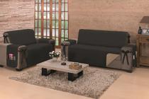 Protetor Sofá Premium 150 Fios 2 Lugares King Caqui/Preto - Store Mais