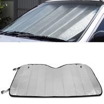 Protetor Solar Automotivo Para-brisa Universal Prata Metalizado Dobrável Suporte Ventosa Quebra Sol - Tech one