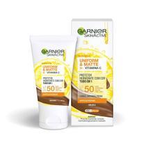 Protetor Solar Hidratante Garnier SkinActive Uniform e Matte FPS 50 Cor Negra 40g -