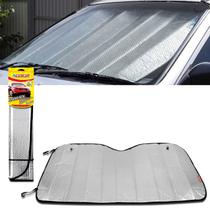 Protetor Solar Para-brisa Quebra Sol Luxcar Dobrável Universal Prata Metalizado com Suporte Ventosa -