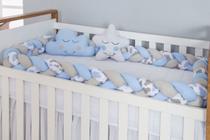 Protetor Trança Berço Americano Azul Claro +almofadas Brinde - Gaby Baby Enxovais