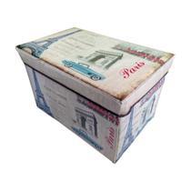 Puff Baú Banco Estampado Dobrável Porta Objetos 48 Cm - A5