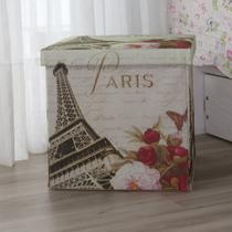 Puff Baú Paris Acasa Móveis Estampado -