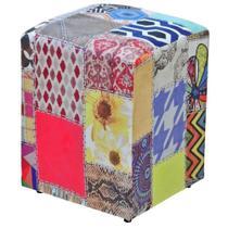 Puff Decorativo Dado Quadrado Estampado Patchwork D20 - DRossi -
