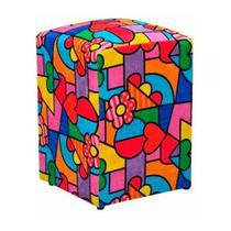 Puff Decorativo Dado Quadrado Estampado Romero D15 - DRossi -