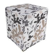 Puff Decorativo Dado Quadrado Floral Bege e Marrom D01 - DRossi -