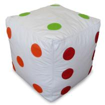 Puff Infantil Dado II Corino Branco e Colorido - Phoenix puff