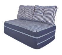Puff Multiuso 3 em 1 Casal Jacquard Azul + Travesseiro - Bf colchões