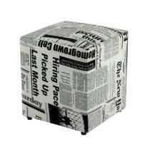 Puff Quadrado 35cm - Estampa Jornal - Storecadeiras