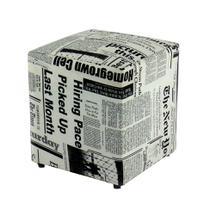 Puff Quadrado Box Jornal - Mobly
