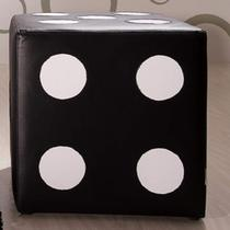 Puff Quadrado Dado II Estofados Grando Preto Branco 501e96d97c0