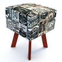 Puff quadrado decorativo Jacquard vintage cinza - Tmdecor