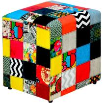 Puff Quadrado Decorativo Tecido Patchwork - Lyam Decor -