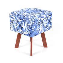 Puff Quadrado em Jacquard Estampado Tropical Costela de Adão Azul -