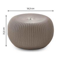 Puff redondo bege linha knit Keter -
