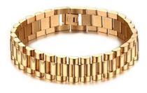 Pulseira Bracelete Masculino Aço Inox 316l Banhado A Ouro - Euro Importados