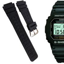5865fe0988a Pulseira Compatível para Relógio Casio DW5600 de Silicone Preta - Oficina  dos relogios