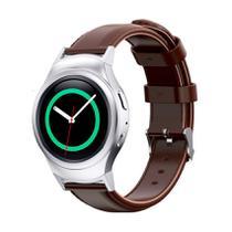 Pulseira de Couro liso Marrom e Conector Prata para Relógio Samsung Galaxy Gear S2 Sport -