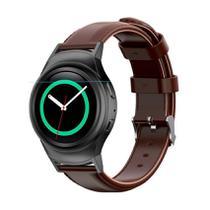 Pulseira de Couro liso Marrom e Conector Preto para Relógio Samsung Galaxy Gear S2 Sport -