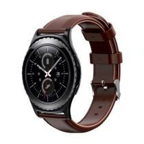 Pulseira de Couro liso Marrom  para Relógio Samsung Galaxy Gear S2 Classic - Tudo Smartwatch