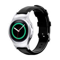 Pulseira de Couro liso Preto e Conector Prata para Relógio Samsung Galaxy Gear S2 Sport -
