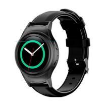 Pulseira de Couro liso Preto e Conector Preto para Relógio Samsung Galaxy Gear S2 Sport -