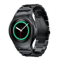 Pulseira de Metal Aço Inox Preto para Relógio Samsung Galaxy Gear S2 Sport - Tudo Smartwatch