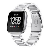 Pulseira de Metal Inox Prata para Relógio Fitbit Versa - Tudo Smartwatch