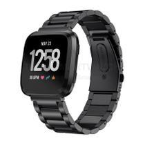 Pulseira de Metal Inox Preto para Relógio Fitbit Versa - Tudo Smartwatch