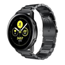 Pulseira de Metal Inox Preto para Relógio Samsung Galaxy Watch Active - Tudo Smartwatch