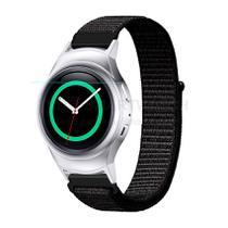 Pulseira de Nylon Preto e Conector Prata para Relógio Samsung Galaxy Gear S2 Sport - Tudo Smartwatch