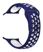 Pulseira Esportiva de Silicone Para i-Watch - 42mm Azul com Branco -