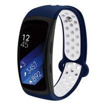 Pulseira Esportiva Para Samsung Gear Fit 2 Sm-R360 Pro R365 Cor Azul Marinho com branco - Tcshick