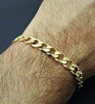 Pulseira Masculina Grumet Diamantada 22cm Banho Ouro 18k 2571 - Très chic joias